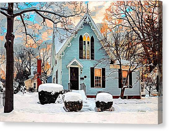 Sky Blue Gingerbread House  Canvas Print by Dorothy Walker