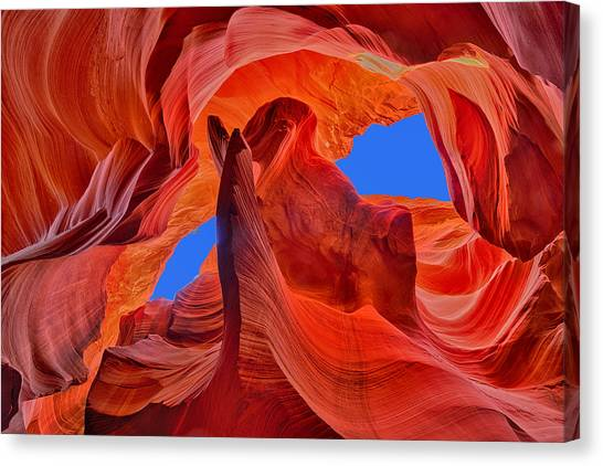 Sky Eyes In Antelope Canyon Canvas Print