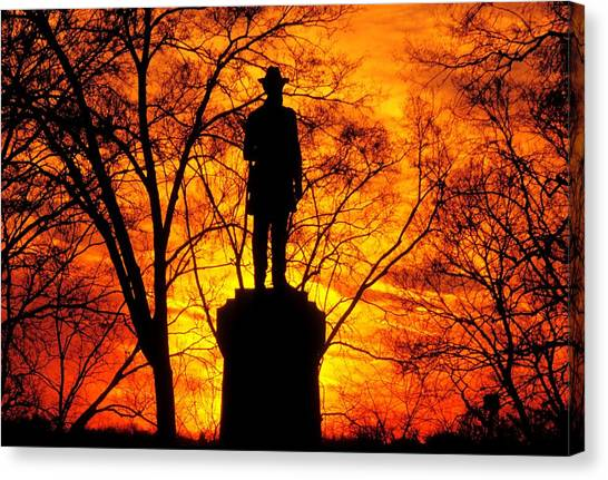 Sky Fire - Flames Of Battle 50th Pennsylvania Volunteer Infantry-a1 Sunset Antietam Canvas Print