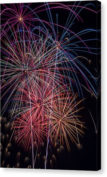 Pyrotechnic Canvas Print - Sky Full Of Fireworks by Garry Gay
