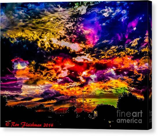 Sky Log Jam Canvas Print by Ron Fleishman