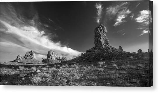 Black Rock Desert Canvas Print - Sky Masters - Trona Pinnacles - Black And White by Peter Tellone