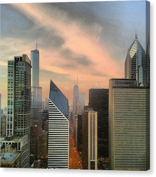 Sears Tower Canvas Print - Sky On Fire by Jill Tuinier