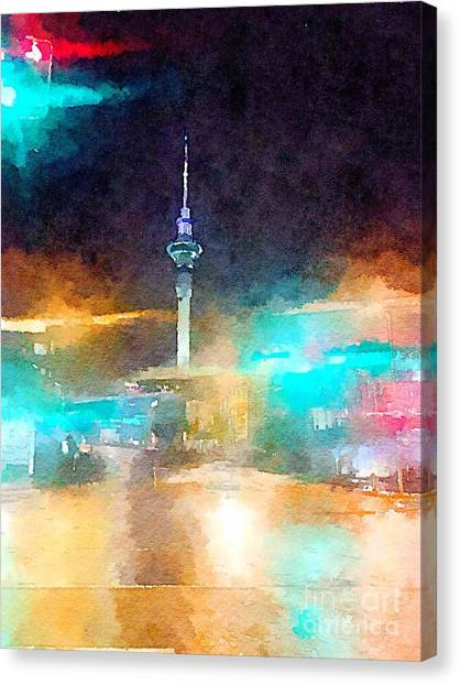 Sky Tower By Night Canvas Print