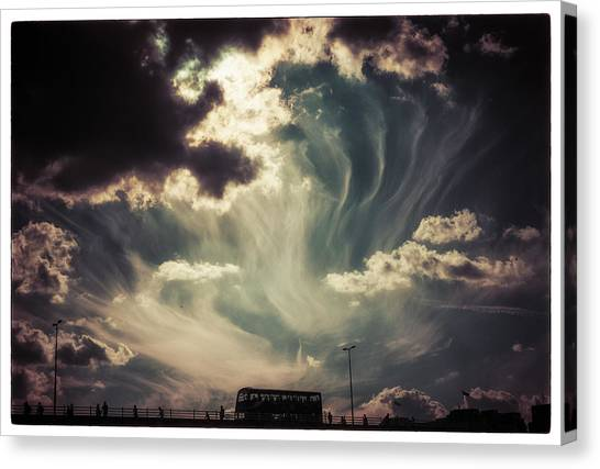 Sky Wisps Over A Double Decker Canvas Print