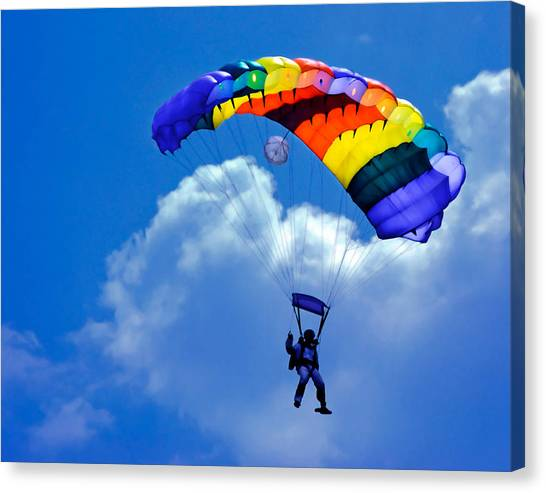 Skydiving Canvas Print - Skydiver by David and Carol Kelly