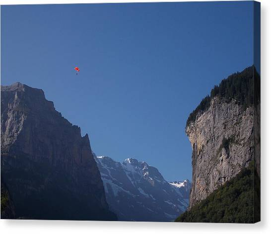 Skydiver Over Lauterbrunnen Canvas Print