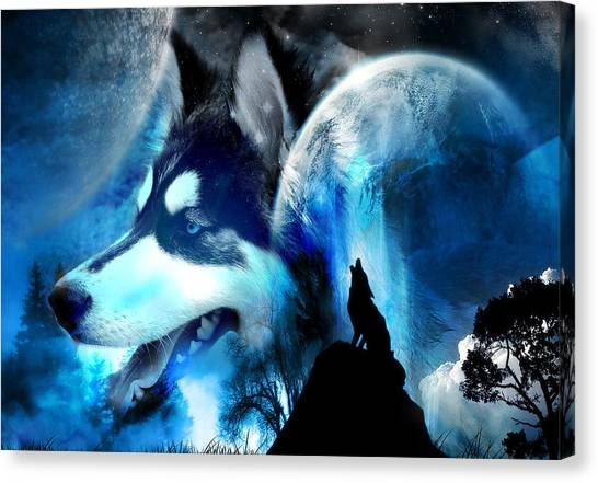 Howling Wolves Canvas Print - Skye by Emile Steyn