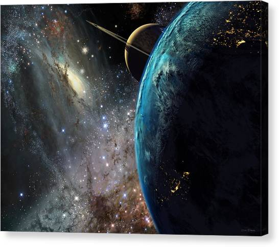 Saturn Canvas Print - Galaxies Collide Over Terraformed Titan by Don Dixon