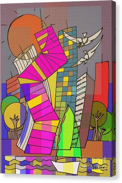 Dubai Skyline Canvas Print - Skyline 8 by Real ARTIST SINGH
