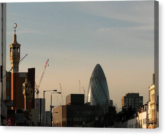 Canvas Print featuring the photograph Skyline At Whitechapel by Helene U Taylor