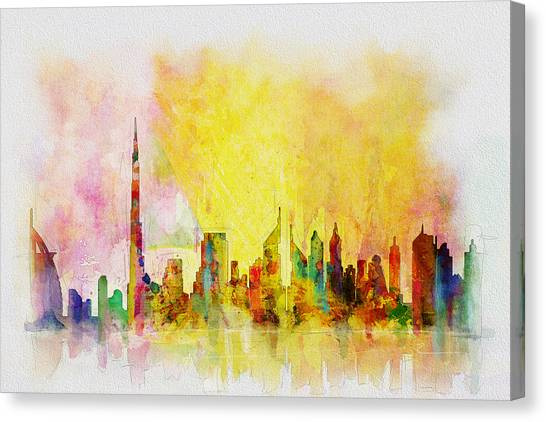 Arabian Desert Canvas Print - Skyline Collage  by Corporate Art Task Force