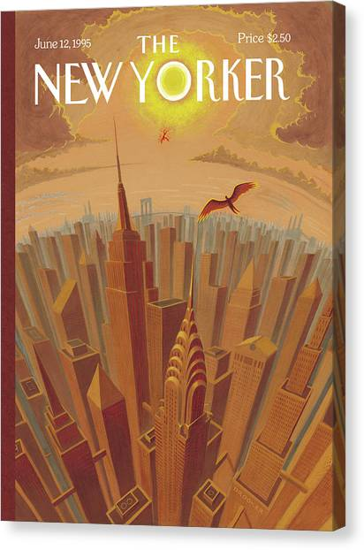 Greek Canvas Print - Skyline Of Nyc At Sunset With Icarus Flying Close by Eric Drooker