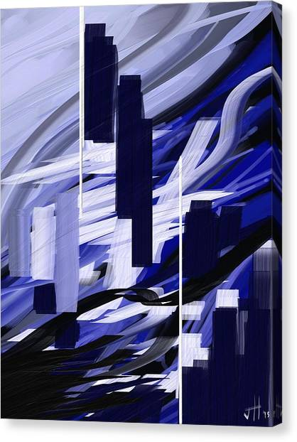 Canvas Print featuring the painting Skyline Reflection On Water by Jennifer Hotai
