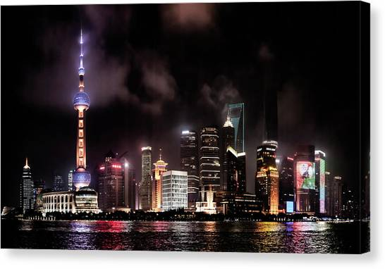 Tv Tower Canvas Print - Skylines Lit At Night, Oriental Pearl by Panoramic Images
