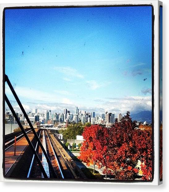 Vancouver Skyline Canvas Print - #skytrain #vancouver #fall #fallseason by NRyan Ferrer