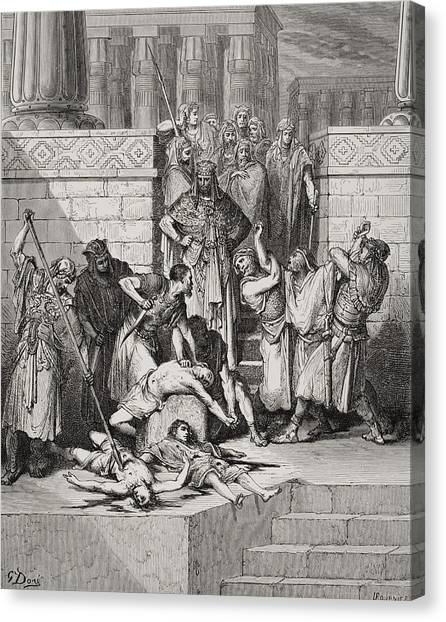 Holy Bible Canvas Print - Slaughter Of The Sons Of Zedekiah Before Their Father by Gustave Dore