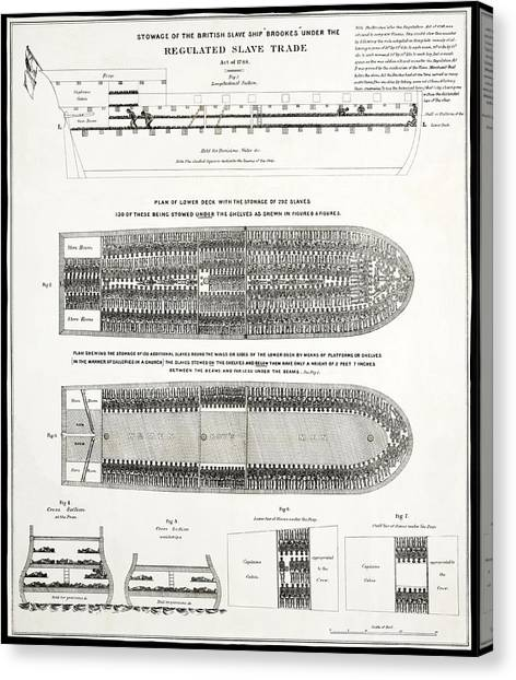 Racism Canvas Print - Slave Ship Middle Passage Stowage Diagram  1788 by Daniel Hagerman