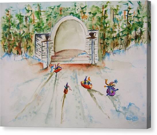 Sledding At Devou Park Canvas Print