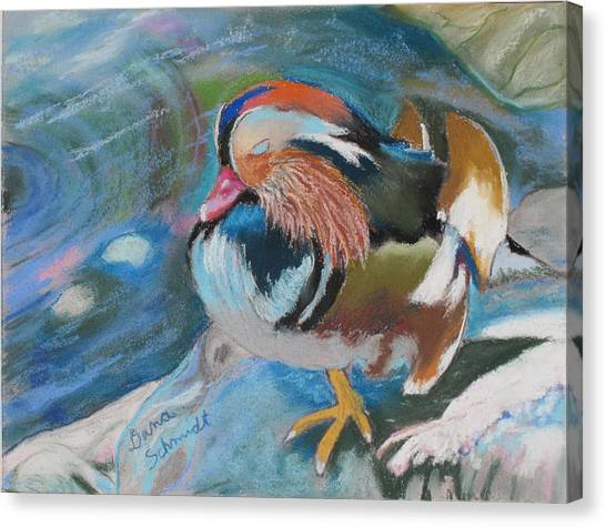 Sleeping Mandarin Duck Canvas Print