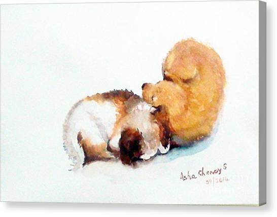 Sleeping Puppies Canvas Print
