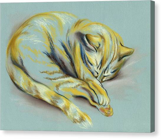 Canvas Print featuring the pastel Sleeping Tabby Kitten by MM Anderson