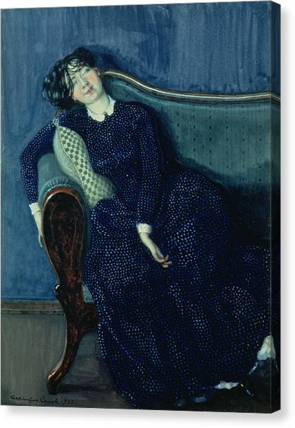 Drunk Canvas Print - Sleeping Woman In Blue, 1903 by Konstantin Andreevic Somov