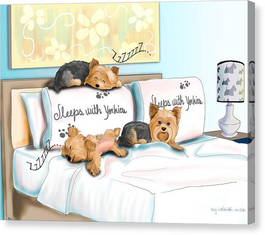 Sleeps With Yorkies Canvas Print