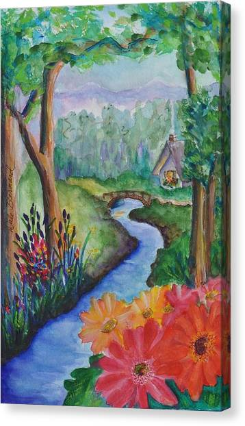 Sleepy Forest Cottage Canvas Print