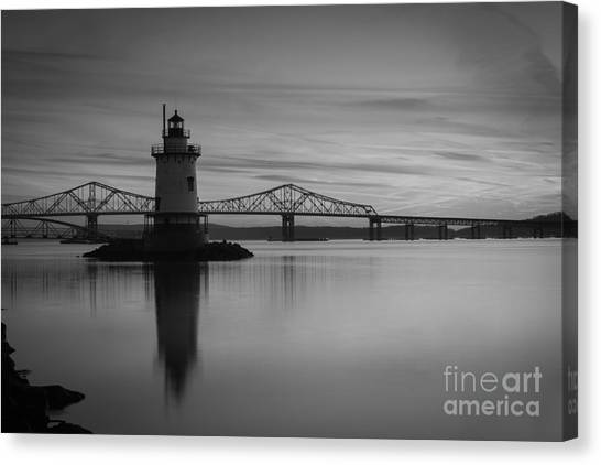 Sleepy Hollow Lighthouse Bw Canvas Print