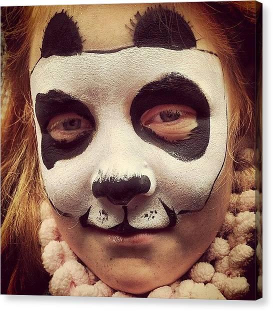Panda Canvas Print - Sleepy #panda #facepaint #girl by Robyn Padden