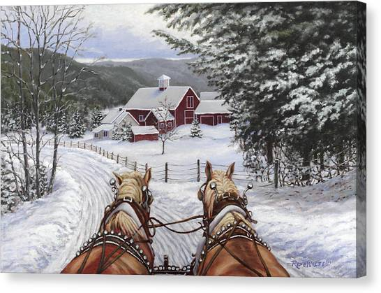 Horse Farms Canvas Print - Sleigh Bells by Richard De Wolfe