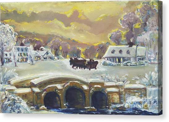 Sleigh Ride By The Creek Canvas Print
