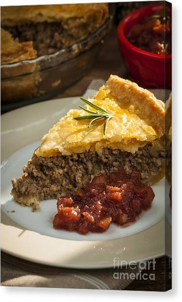 Cranberry Sauce Canvas Print - Slice Of Tourtiere Meat Pie  by Elena Elisseeva