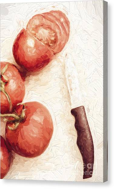 Ingredient Canvas Print - Sliced Tomatoes. Vintage Cooking Artwork by Jorgo Photography - Wall Art Gallery