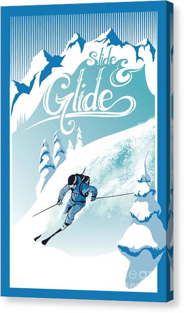 Ski Canvas Print - Slide And Glide Retro Ski Poster by Sassan Filsoof