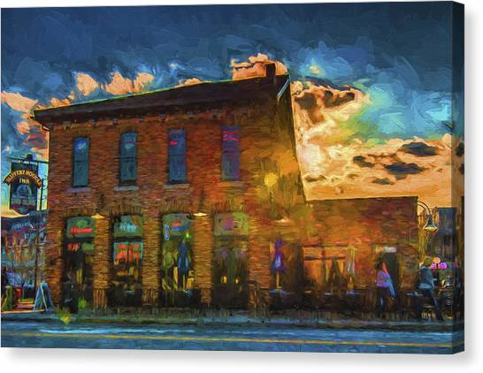 Milwaukee Brewers Canvas Print - Slippery Noodle Inn Indianapolis Indiana Painted Digitally by David Haskett II