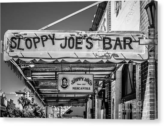 Greene street canvas print sloppy joes bar canopy key west black and white by