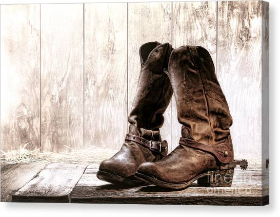 Spurs Canvas Print - Slouch Cowboy Boots by Olivier Le Queinec