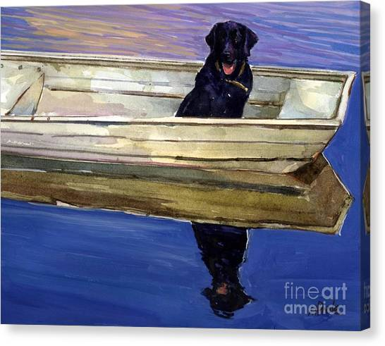 Labrador Retrievers Canvas Print - Slow Boat by Molly Poole