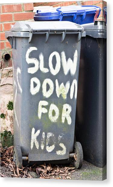 Rubbish Bin Canvas Print - Slow Down by Tom Gowanlock