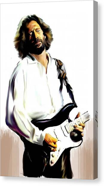 Eric Clapton Canvas Print - Slow Hand  Eric Clapton by Iconic Images Art Gallery David Pucciarelli