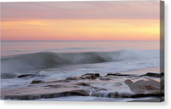 Slow Motion Wave At Colorful Sunset Canvas Print