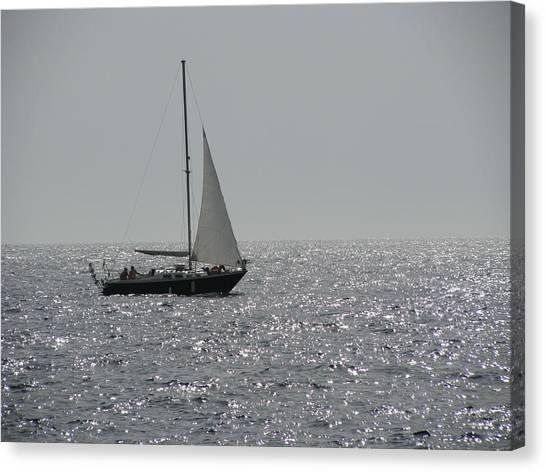 Small Boat At Sea Canvas Print