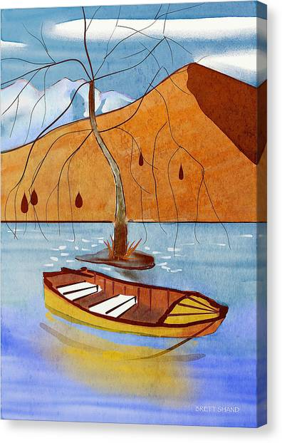 Small Boat On Lake Water Canvas Print