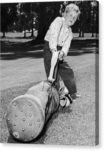 Black 7 White Canvas Print - Small Boy Totes Heavy Golf Bag by Underwood Archives