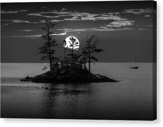 Small Island At Sunset In Black And White Canvas Print