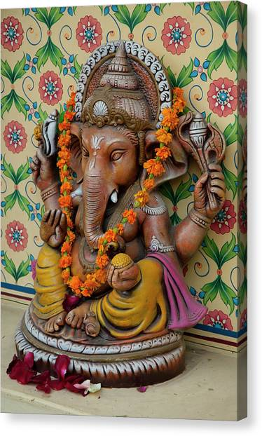 Hinduism Canvas Print - Small Shrine To Ganesh, Jaipur by Inger Hogstrom