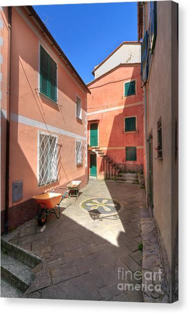 small square in Camogli Canvas Print