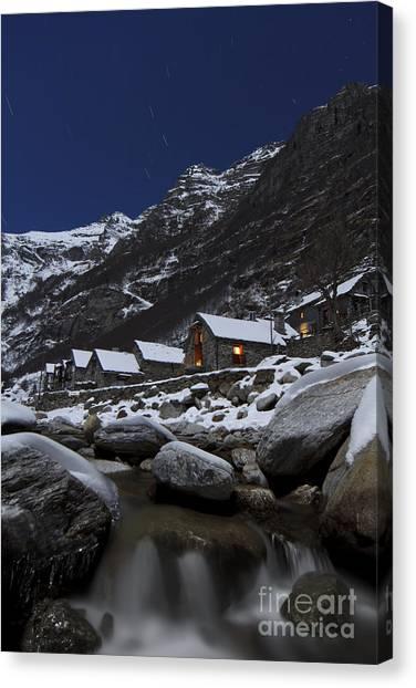 Small Village At Full Moon Canvas Print